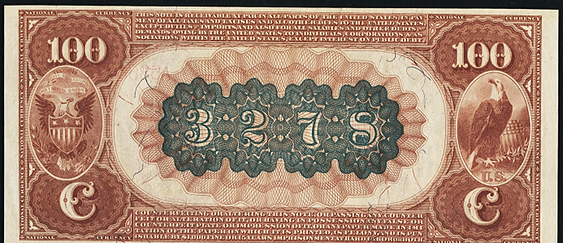 1882 $100 Brown Back - Back