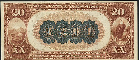 1882 \$20 Brown Back - Back