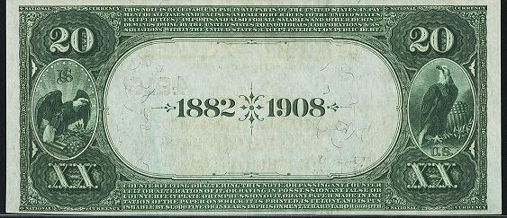 1882 \$20 Date Back - Back