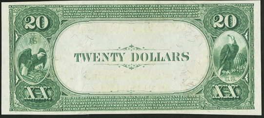1882 \$20 Value Back - Back
