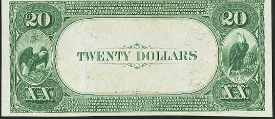 1882 \$20 Value Back - Back