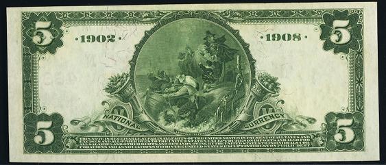 1902 \$5 Date Back - Back
