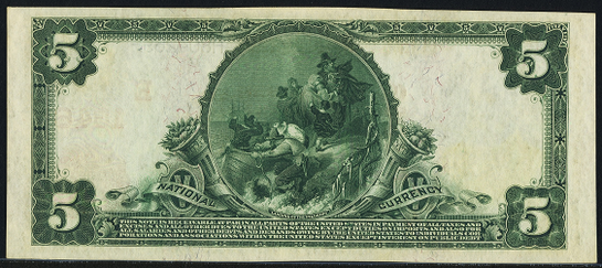 1902 \$5 Red Seal - Back