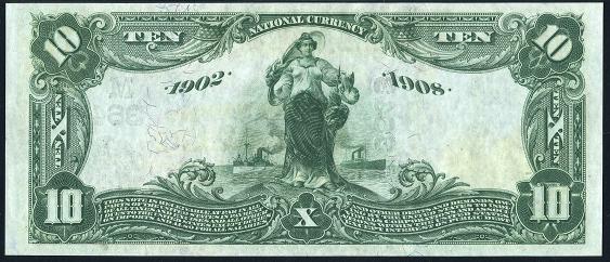 1902 \$10 Date Back - Back