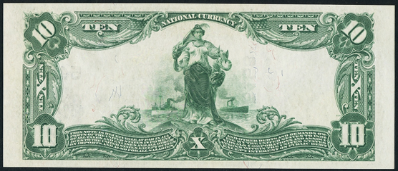 1902 $10 Plain Back - Back