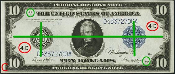 1914 Ten Dollar Federal Reserve Notes Blue Seal C