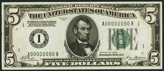 1928 Five Dollar Federal Reserve Note