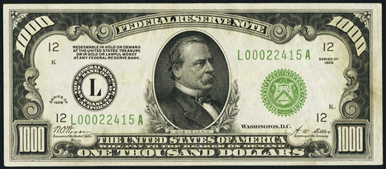 1928 One Thousand Dollar Federal Reserve Note
