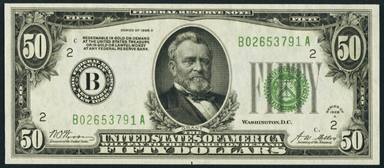 1928a Fifty Dollar Federal Reserve Note