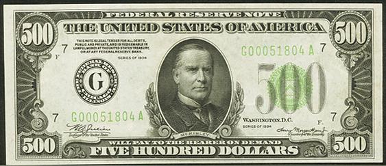 1934 Five Hundred Dollar Federal Reserve Note