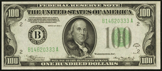 1934a One Hundred Dollar Federal Reserve Note