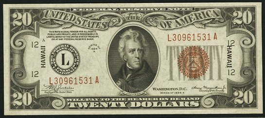 1934a Twenty Dollar Federal Reserve Notes Hawaii Brown Note