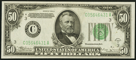 1934b Fifty Dollar Federal Reserve Note