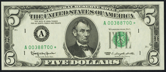 1985 Five Dollar Federal Reserve Note