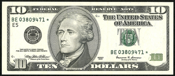 2001 Ten Dollar Federal Reserve Note