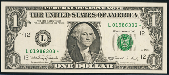 2009 One Dollar Federal Reserve Notes FW