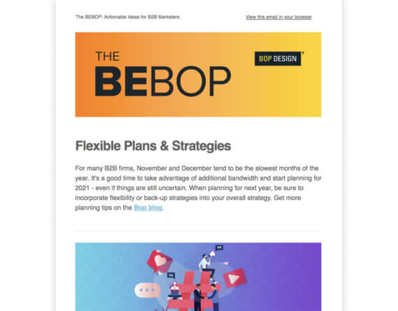 Bop Design Newsletter with Big, Bold Type