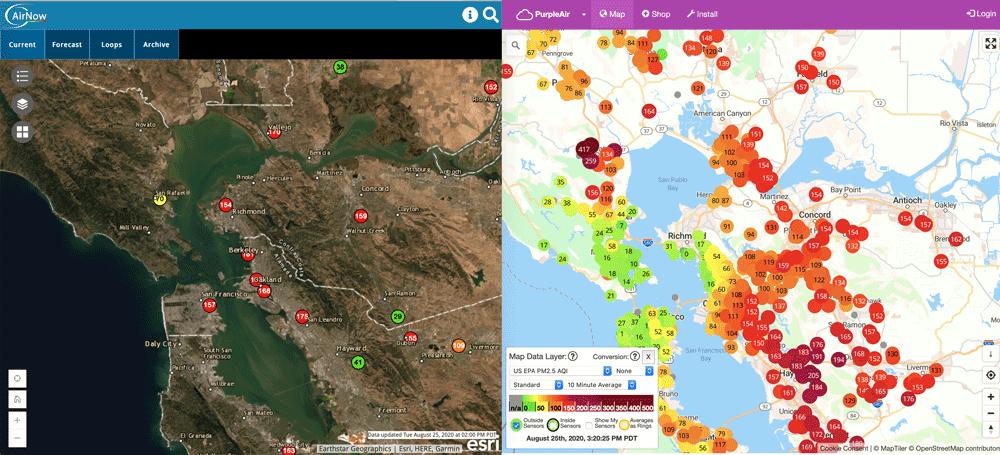 Location of AirNow sensors versus PurpleAir sensors.