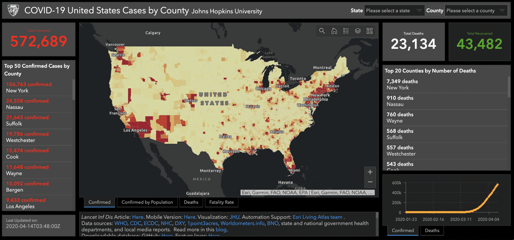 Map of COVID-19 confirmed cases for the United States by county.  Screenshot taken April 14, 2020.