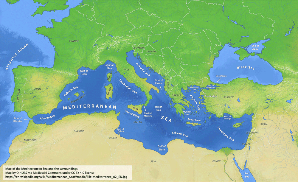 Map of the Mediterranean Sea with subdivisions, straits, islands and countries by O H 237, MediaWiki Commons under license CC BY 4.0.