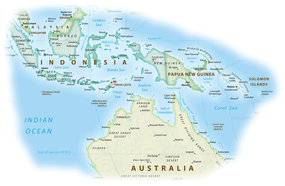 Map showing the location of New Guinea. Map: Equal Earth Physical Map, public domain.
