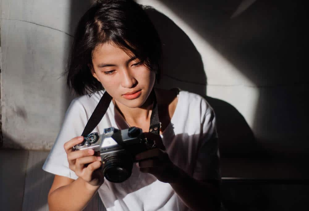 Girl learning photography
