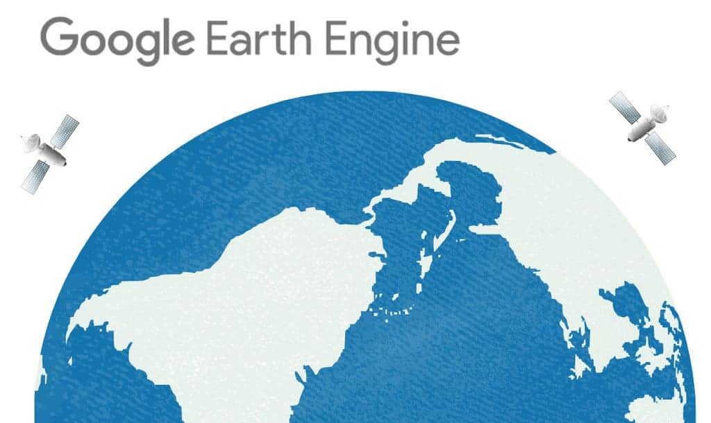 Picture with half of the earth, two satellites, and the Google Earth Engine text logo.