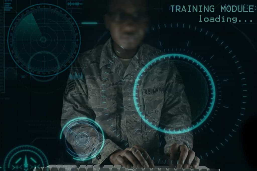 Graphic showing an overlay of artificial intelligence graphics over a military person.