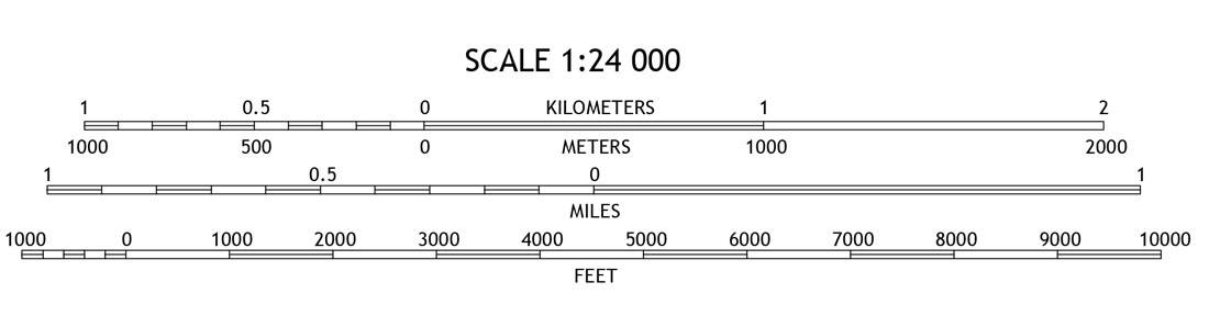 A set of map scales from a USGS 7.5 minute Topo map showing representative fraction (RF) and three different bar scales for different metric and standard units.