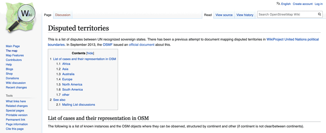 OpenStreetMap maintains a wiki page of disputed territories.  Screenshot taken 12-April-2021.