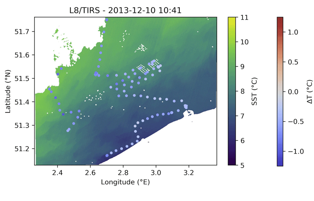 L8/TIRS temperature, with temperature difference ( =satellite-in situ) plotted at the sampling locations.  Figure: Vanhellemont, Q. (2020). Automated water surface temperature retrieval from Landsat 8/TIRS. Remote Sensing of Environment, 237, 111518. under license CC BY 4.0