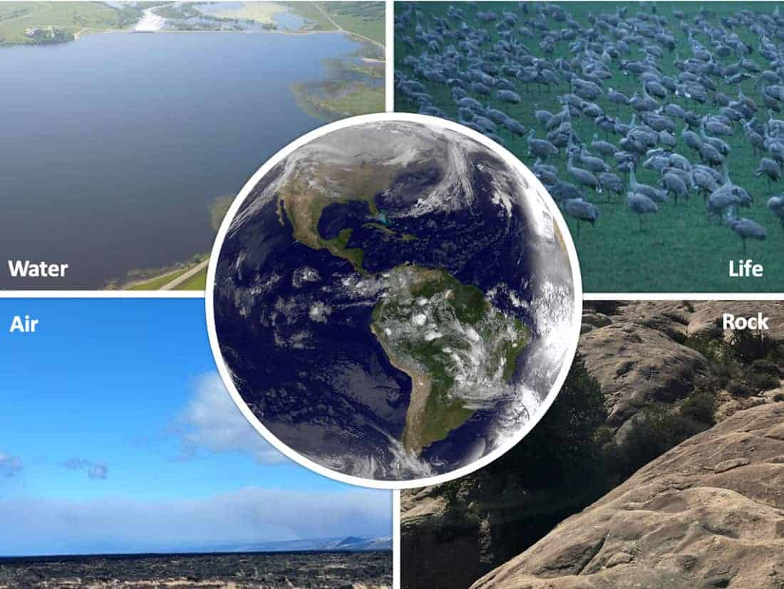 The Earth's four systems.  Images: USGS, public domain.