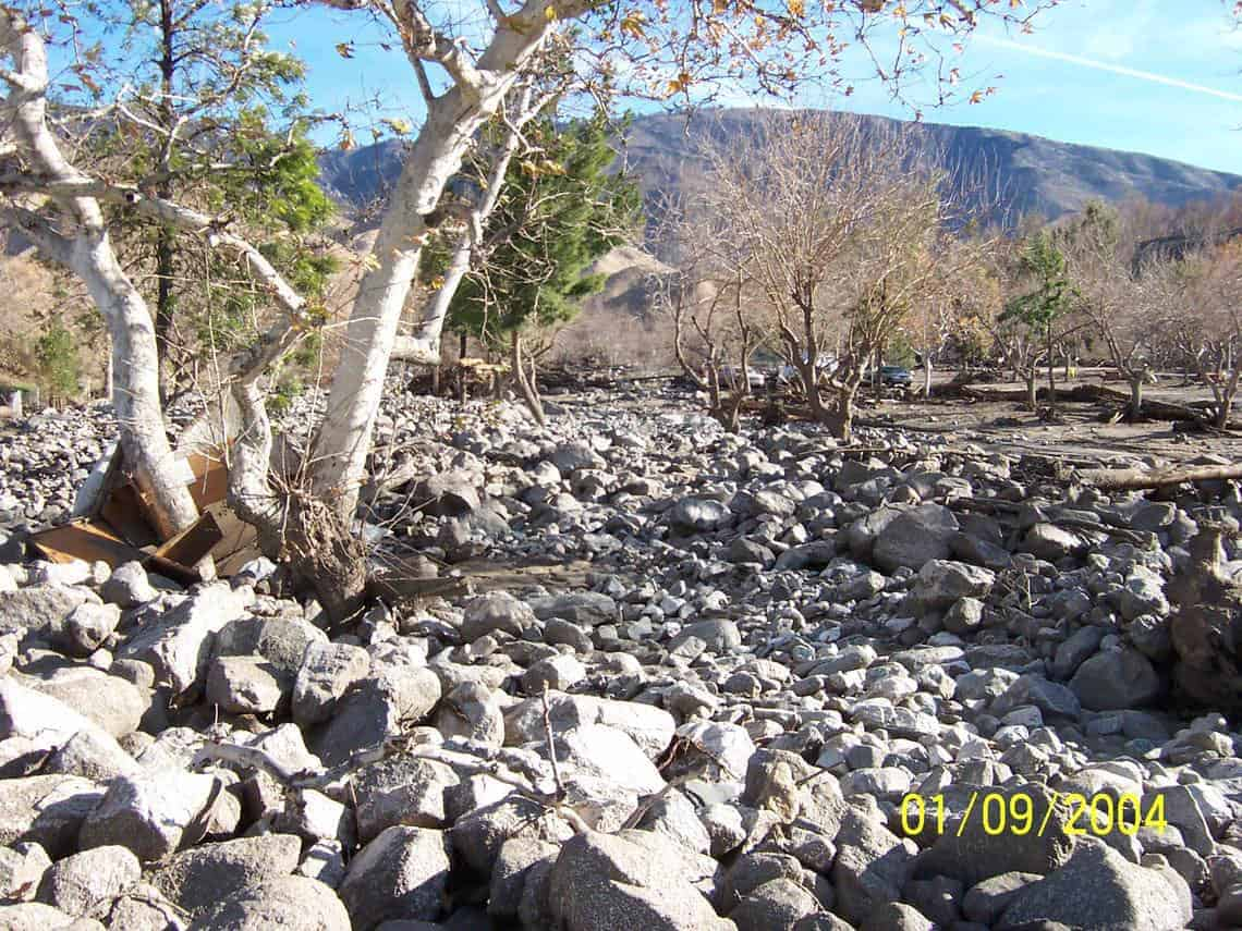 Debris Flow in Cable Canyon following the 2003 Old Fire in the San Bernardino Mountains, California. Photo: USGS, public domain.