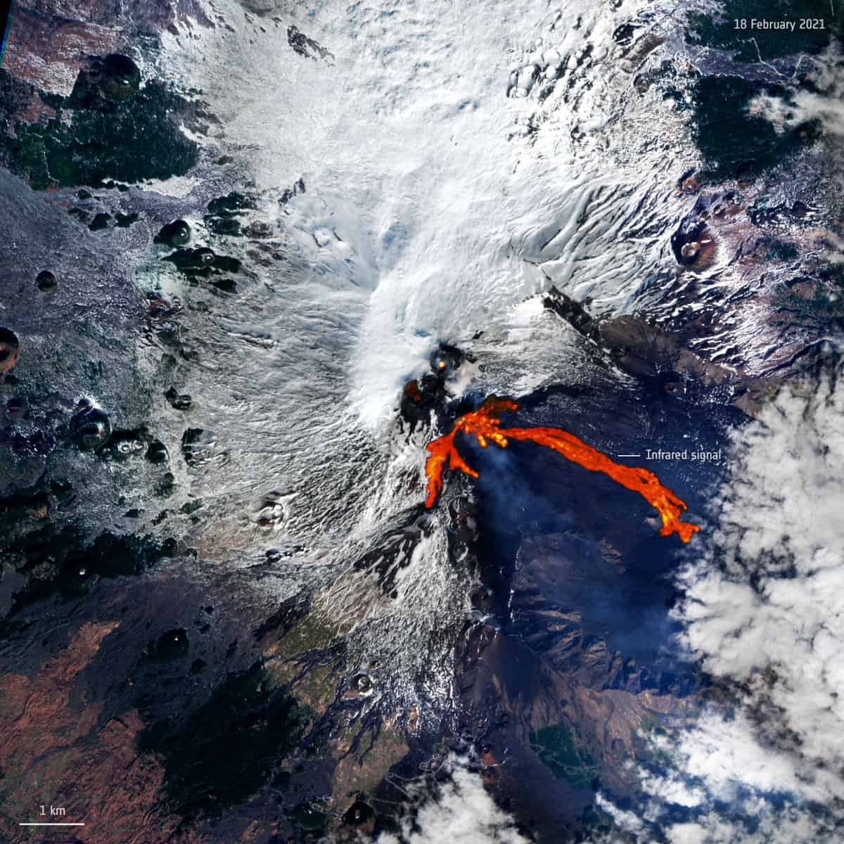 Processing Sentinel-2's shortwave-infrared band shows the bright red lava flow on Mount Etna's southern flank on February 18, 2021.