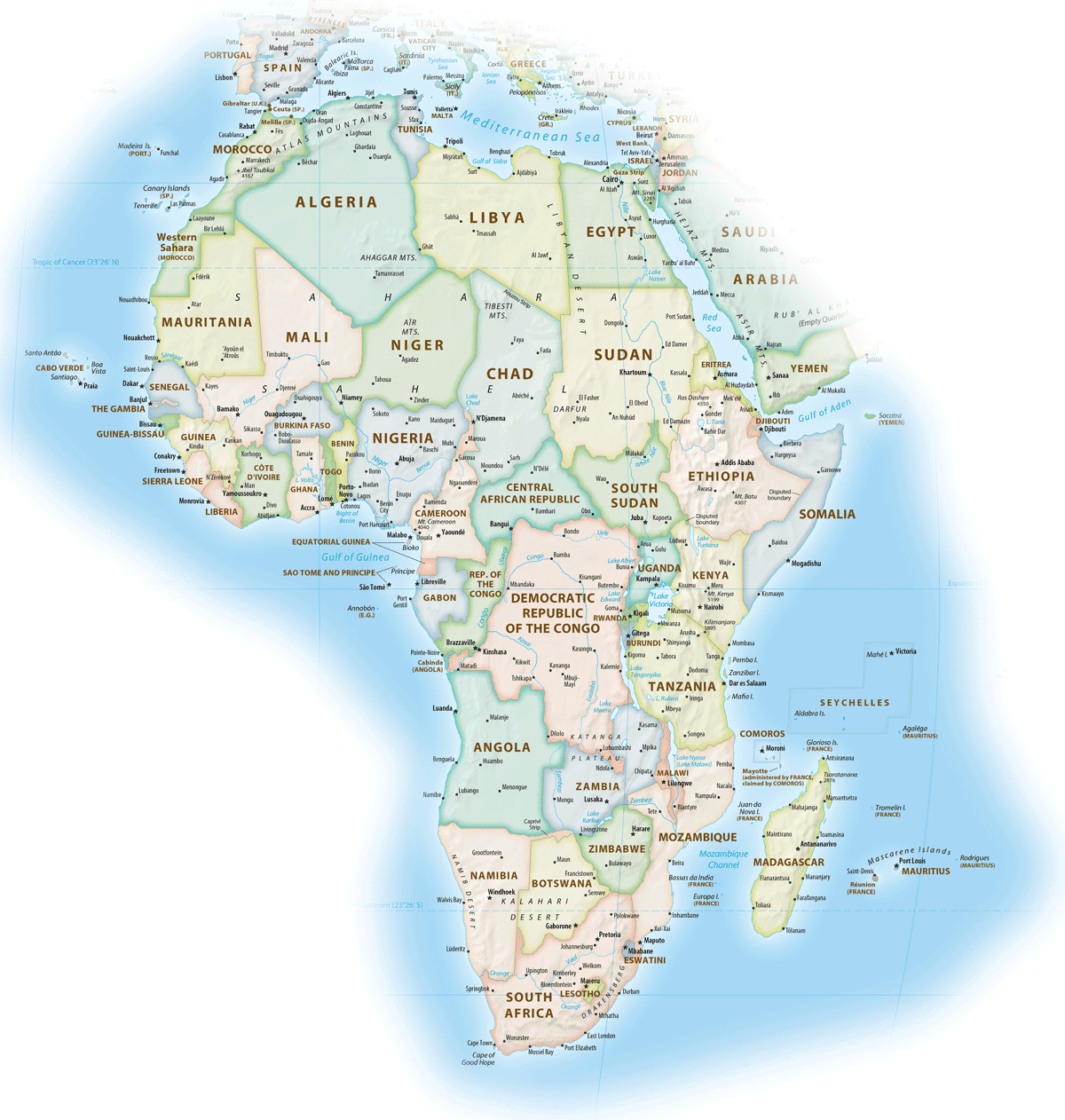 Map of the continent of Africa showing individual countries.