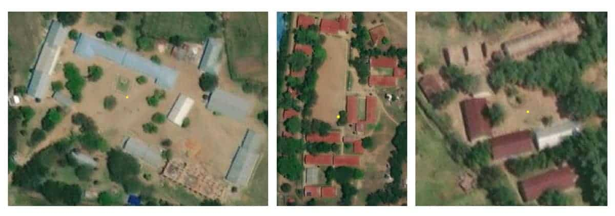 Examples of unmapped schools identified on satellite imagery. Source: Development Seed.