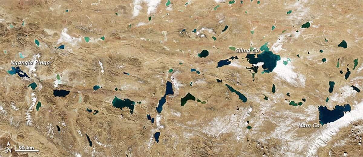 Some of the lakes in the Tibetan Plateau.  Image: NASA Aqua Satellite, November 10, 2010.