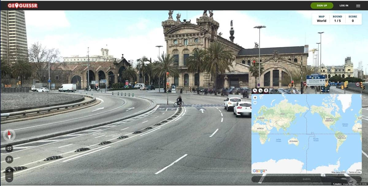 Screenshot of Geoguessr's free world game which uses Mapillary for the basemap.