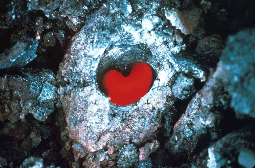Hawaii Volcanoes National Park. October 1968 eruption of Kilauea Volcano. Glowing tree mold west of Napau Crater. Photo by D.A. Swanson, October 12, 1968.
