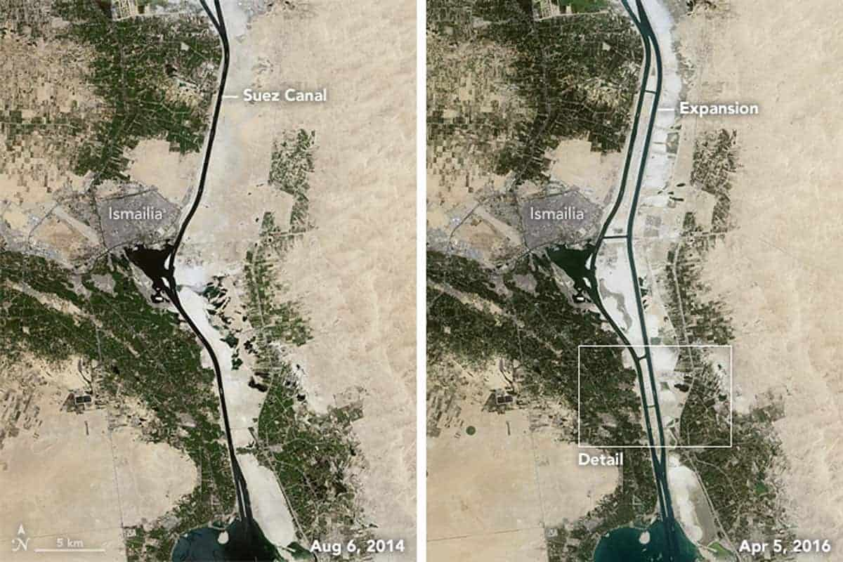 Construction of the New Suez Canal. Satellite images of before and after: August 6, 2014 and April 5, 2016. Images: Landsat 8.