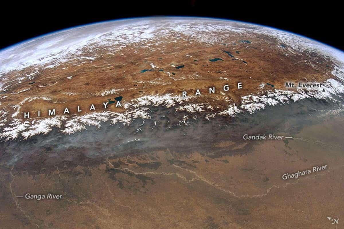 View of the Ganges/Ganga Plains, the Himalayas, and the Tibetan Plateau.