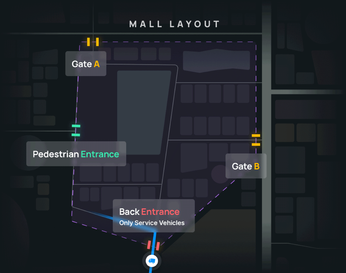 Image by NextBillion.ai. One location with different entry/exits has multiple relevant POIs