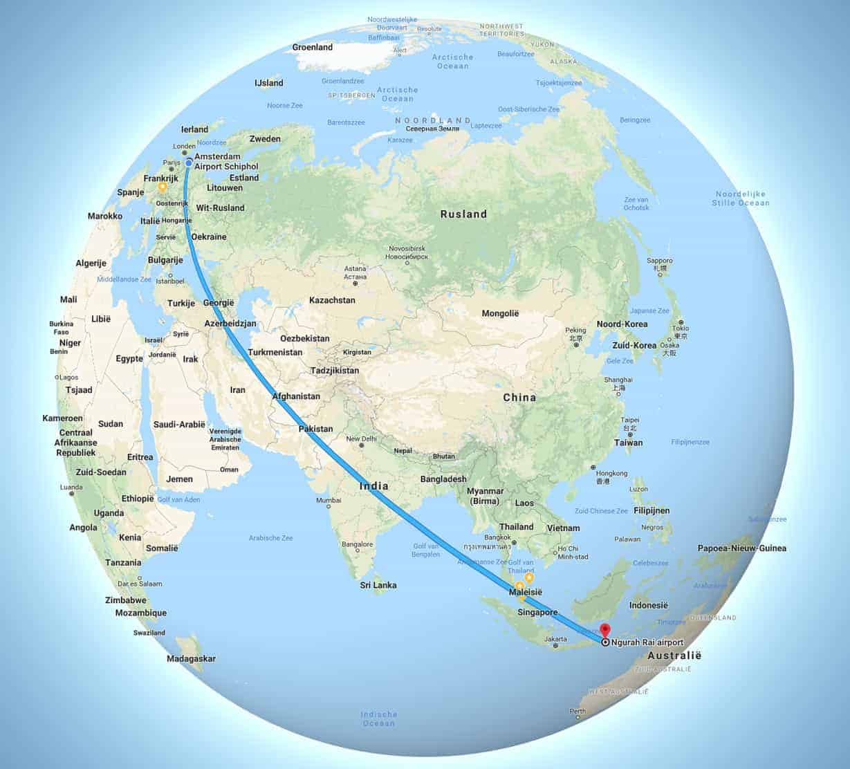 Wereldbol vlucht naar Bali