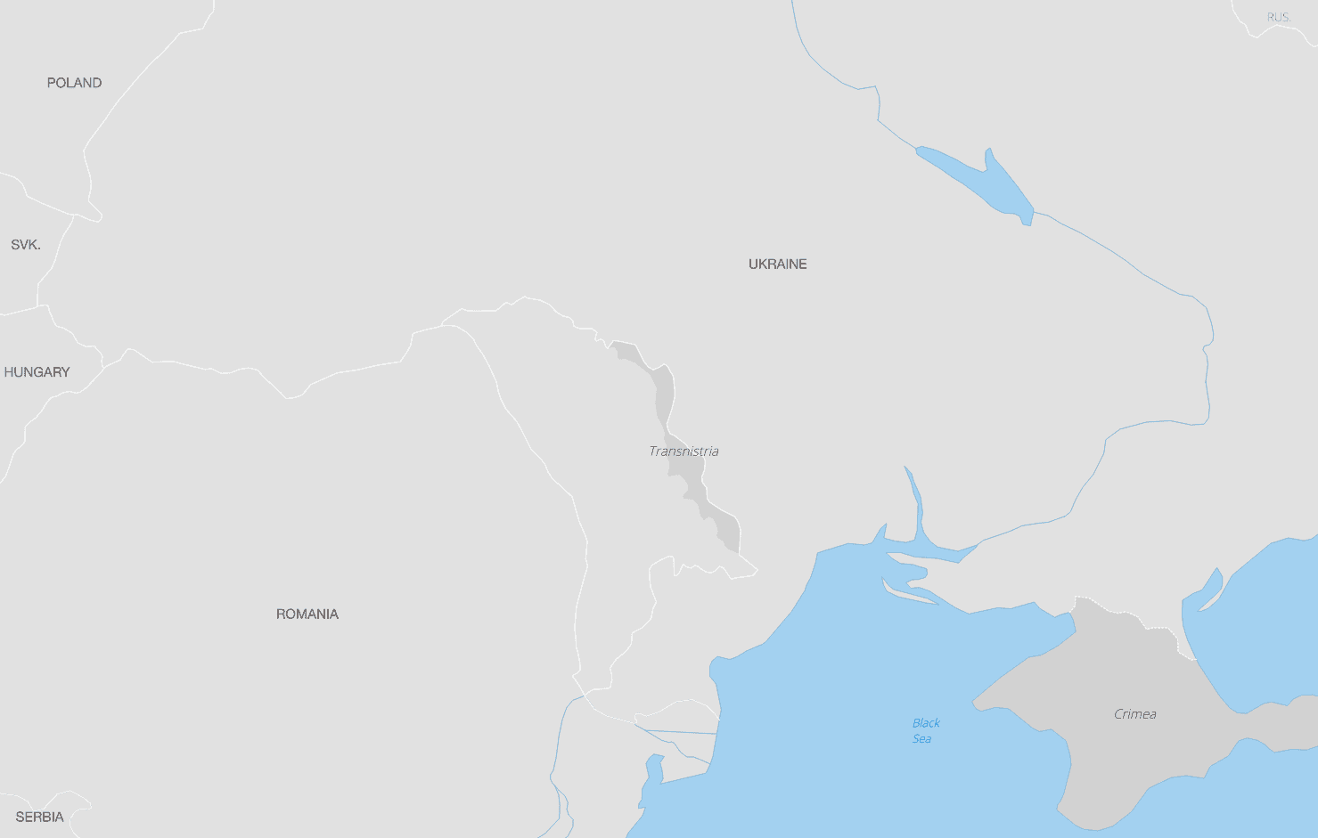 Map showing the self-declared nation of Transnistria.  Map made with Natural Earth Data.