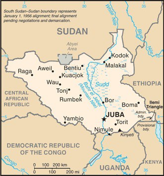 Map showing the location of South Sudan.  Map: CIA, public domain.