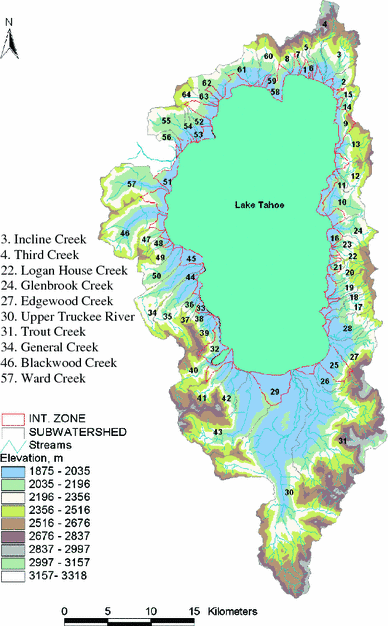 Map of Lake Tahoe showing the 83 input tributaries and the one output (Truckee River). Map: Sahoo et al., 2011.