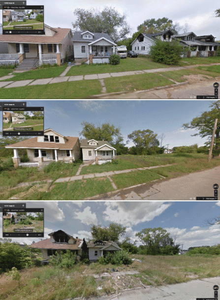 This row of house on Exeter between Seven Mile and Penrose in Northern Detroit shows the progression of increased blight starting in 2009 (top picture), 2011 (middle), and 2013 (bottom). Images: Google Street View via GooBing Detroit