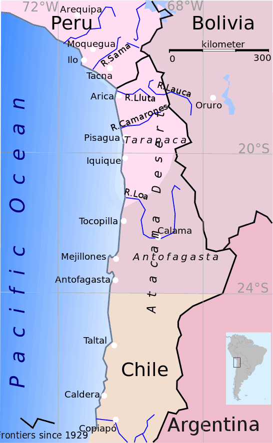 Map showing Bolivia and Peru's pre-war borders (shaded colors) and current borders (black line). Map: Keysanger, Wikimedia Commons.
