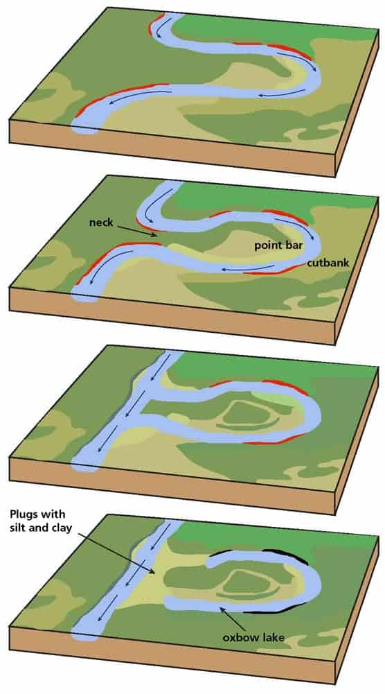 Evolution of a meandering stream includes the following: (1) stream channel within meander belt; (2) development of a nearly closed meander loop; (3) high water flowing across the neck of loop, making a cutoff; (4) deposition of sediment sealing the loop and creating an oxbow lake.