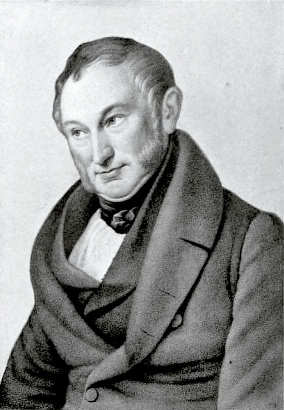 Portrait of J. H. von Thünen by Wilhelm Ternite.  Black and white photograph of the painting.  The original portrait hangs in the Thünen-Museum-Tellow in Mecklenberg, Germany